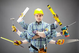 Handyman with many arms holding multiple tools
